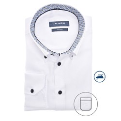 Ledûb Long Sleeve Faux Dot Contrast Modern Fit Overhemd Wit