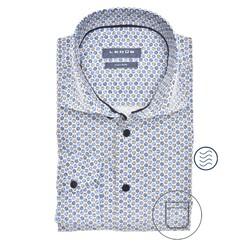 Ledûb Long Sleeve Faux Dot Modern Fit Overhemd Midden Blauw