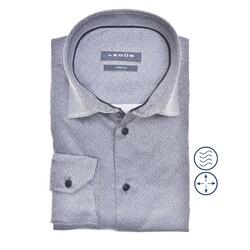 Ledûb Long Sleeve Faux Uni Modern Fit Overhemd Midden Blauw