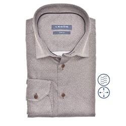Ledûb Long Sleeve Faux Uni Modern Fit Overhemd Midden Bruin