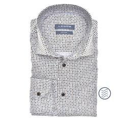 Ledûb Long Sleeve Leaf Pattern Modern Fit Overhemd Midden Bruin