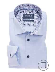 Ledûb Mini Check Pattern Contrast Overhemd Licht Blauw
