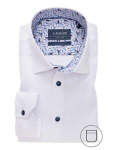 Ledûb Mini Check Pattern Contrast Overhemd Wit