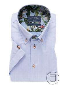 Ledûb Modern Button Contrast Short Sleeve Overhemd Licht Blauw