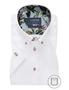 Ledûb Modern Button Contrast Short Sleeve Overhemd Wit
