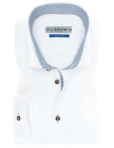 Ledûb Modern Contrasted Fine Non-Iron Twill Shirt White