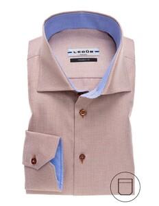 Ledûb Modern Faux Uni Structured Overhemd Licht Bruin