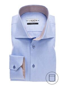Ledûb Modern Faux Uni Structured Shirt Mid Blue