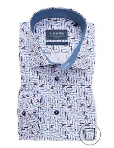 Ledûb Modern Fish Contrast Stretch Overhemd Midden Blauw