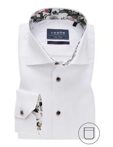 Ledûb Modern Non Iron Contrast Mouwlengte 7 Overhemd Wit