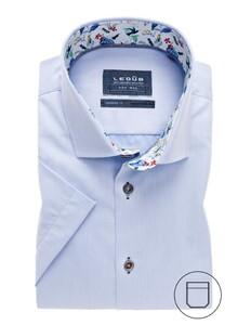 Ledûb Modern Short Sleeve Uni Contrast Overhemd Licht Blauw