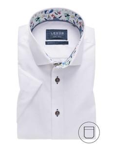 Ledûb Modern Short Sleeve Uni Contrast Overhemd Wit