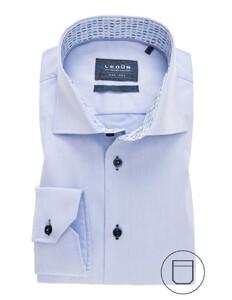 Ledûb Modern Uni Contrast Collar Overhemd Licht Blauw Melange
