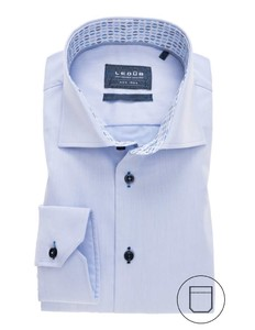 Ledûb Modern Uni Contrast Collar Shirt Licht Blue Melange