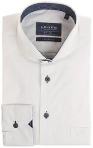 Ledûb Modern Uni Lane Contrast Overhemd Wit