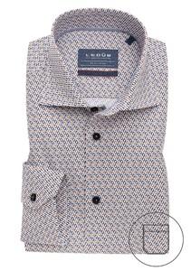 Ledûb Mouwlengte 7 Half Circle Contrast Overhemd Midden Bruin
