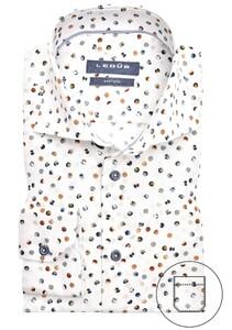 Ledûb Multi Contrast Dot Overhemd Wit-Bruin