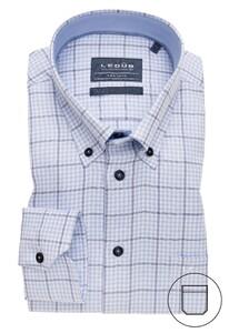 Ledûb Multicheck Button Down Overhemd Licht Blauw