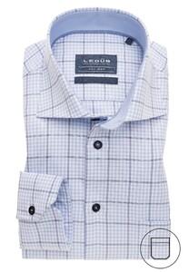 Ledûb Non Iron Check Overhemd Licht Blauw