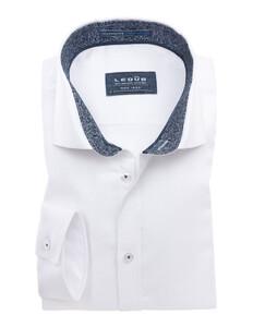 Ledûb Non-Iron Fine Flower Contrast Shirt White