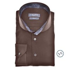 Ledûb Petal Contrast Slim Fit Overhemd Donker Bruin