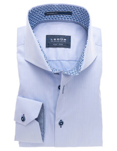 Ledûb Plain Non-Iron Half Circle Fun Contrasted Shirt Light Blue