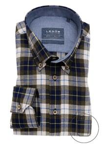 Ledûb Premium Check Button Down Overhemd Donker Blauw