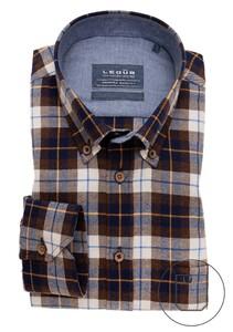 Ledûb Premium Check Button Down Overhemd Donker Bruin