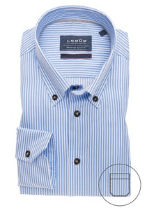 Ledûb Premium Striped Bio Cotton Button Down Overhemd Licht Blauw