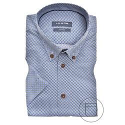 Ledûb Screw-Head Pattern Modern Fit Overhemd Midden Blauw