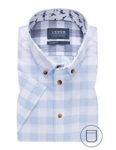 Ledûb Short Sleeve Contrast Button Check Overhemd Licht Blauw
