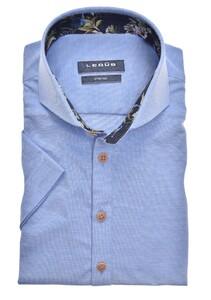 Ledûb Short Sleeve Cotton Stretch Cutaway Overhemd Midden Blauw