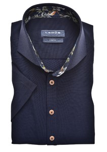 Ledûb Short Sleeve Cotton Stretch Cutaway Overhemd Navy