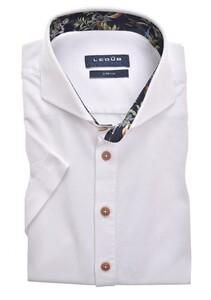 Ledûb Short Sleeve Cotton Stretch Cutaway Overhemd Wit-Blauw