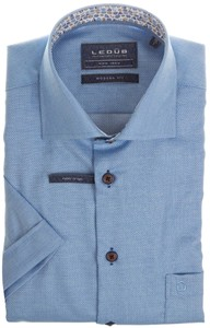 Ledûb Short Sleeve Fine Contrast Overhemd Midden Blauw