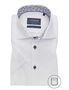 Ledûb Short Sleeve Fine Contrast Overhemd Wit