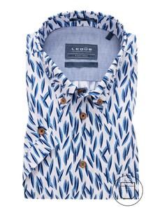 Ledûb Short Sleeve Modern Contrast Overhemd Donker Blauw