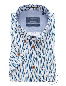 Ledûb Short Sleeve Modern Contrast Overhemd Midden Groen