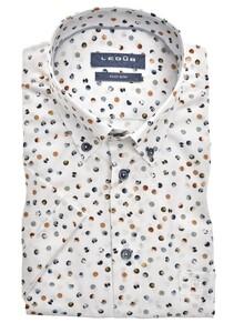 Ledûb Short Sleeve Multi Contrast Dot Overhemd Wit-Bruin