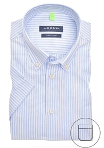 Ledûb Short Sleeve Striped Button Down Overhemd Licht Blauw