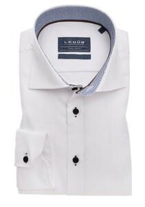 Ledûb Slim Sleeve 7 Uni Dotted Contrast Overhemd Wit