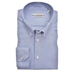 Ledûb Smart Stripe Slim Fit Overhemd Donker Blauw