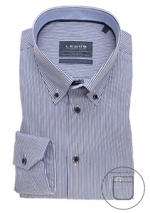 Ledûb Striped Button Down Non Iron Overhemd Donker Blauw