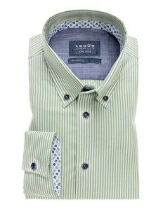 Ledûb Striped Button Down Overhemd Licht Groen