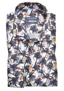 Ledûb Tropical Palm Fantasy Overhemd Donker Blauw