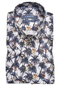Ledûb Tropical Palm Fantasy Short Sleeve Overhemd Donker Blauw