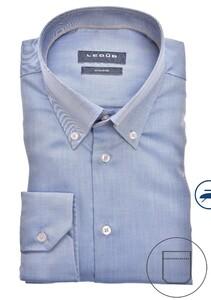 Ledûb Uni Button Down Non Iron Overhemd Midden Blauw