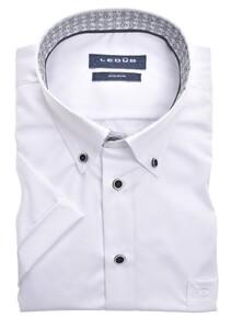 Ledûb Uni Fine Circle Fantasy Contrast Short Sleeve Overhemd Wit