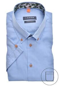 Ledûb Uni Fine Jungle Contrast Overhemd Midden Blauw