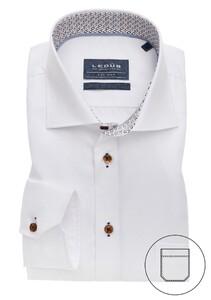 Ledûb Uni Half Circle Contrast Overhemd Wit